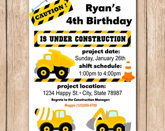 Dump Truck Birthday Invitation - Construction, Builder - 1.00 each printed