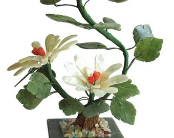 Flower plant with mother of pearl Coral and Jade