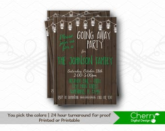 Fun & Rustic PRINTABLE or PRINTED Mason Jar Going Away Party Invitations.  Farewell Invite. Wood Invites. Pictured in Green and White.