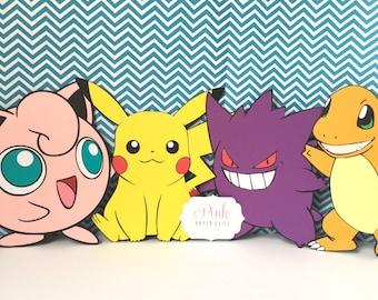 Pokemon Centerpiece, Pokemon Birthday Party, Pokemon Favors, Pokemon Party, Pokemon Favor Bags, Pokemon Die Cuts, Pokemon Birthday