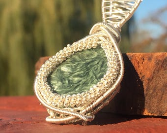 Seraphinite wire wrapped pendant, seraphinite wire wrap, seraphinite jewelry, seraphinite necklace, seraphinite pendant