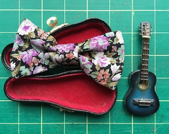 Black and purple floral kids bow tie