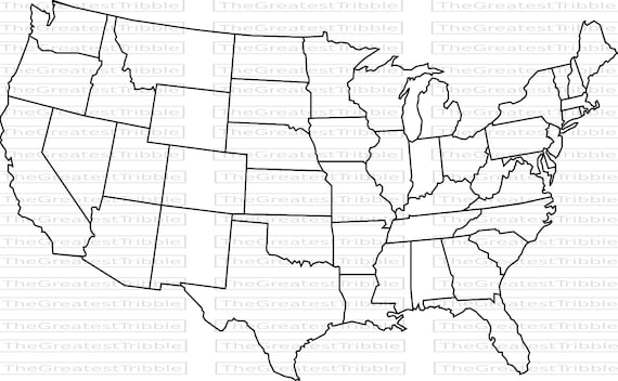US Map United States Map State Outlines Transparent