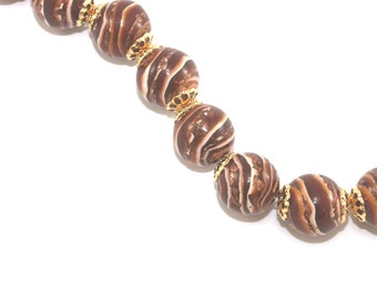 Earthy DIY bracelet gift for Mom spiral ball jewelry beads craft supply polymer clay beads birthday DIY necklace for her gift for him 10pcs