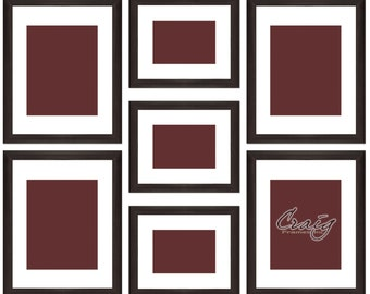 Craig Frames,  7 Piece Brown Picture Frame Set, White Display Mats (621FSET01S07Z)