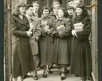 Vintage Snapshot Photo Group of High School Students Blurry Face 1940's, Original Found Photo, Vernacular Photography