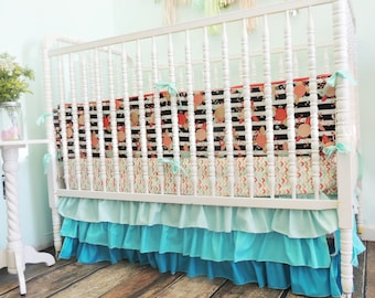 Crib Bedding in Black, White, Aqua, Coral, Gold Aqua Gradient Ombre Crib Skirt, Aqua Ruffle Crib Skirt, Black White