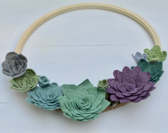 Felt Succulent Wreath, Succulent Wreath, Faux Succulent Wreath, Hoop Wreath, Succulents, Indoor Wreath
