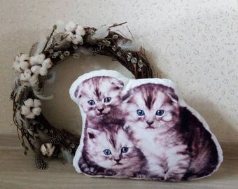 Plush pillow. Home Decor. Cat Lover Gift. Cat Pillow. Cat Print. Custom plush. Animal pillow. Pet lover. Meow. Kittycat. Kitty pillow.