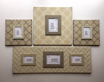 Neutral Gallery Wall Photo Frames - Magnetic Frames - Tan Patterned Picture Frames - Family Photos - Distressed Farmhouse Style - Customize
