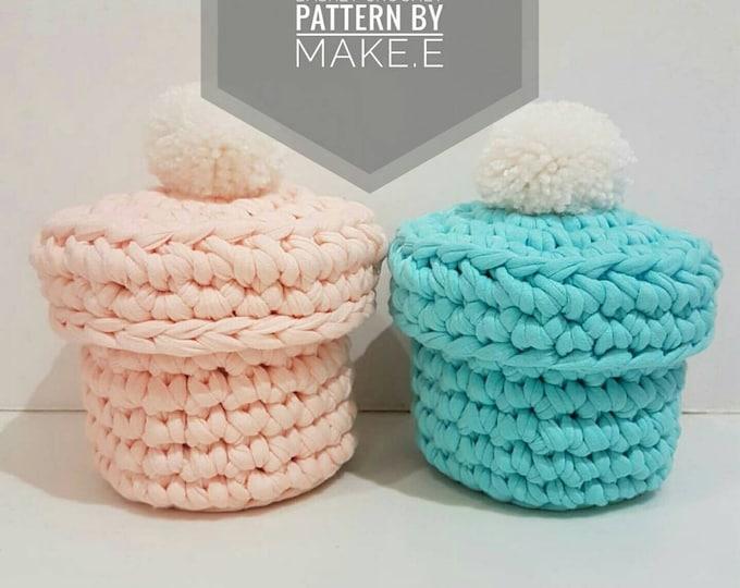 T-shirt Yarn Pompotlet Basket Crochet Pattern
