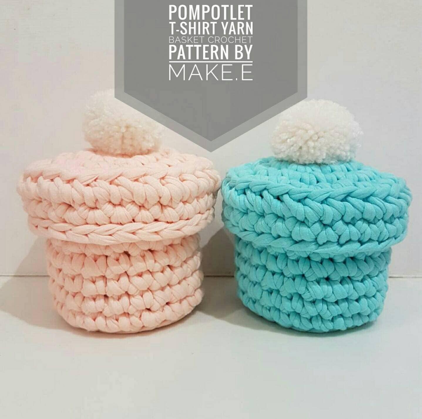 T shirt yarn pompotlet basket crochet pattern dt1010fo