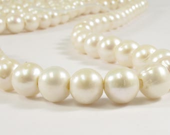 11-12 mm AA Large Hole Potato / Semi Round Natural White Freshwater Pearl Beads Hole 2.2 mm, Natural White Cultured Pearls (41-LHPW1011)
