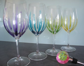 """Hand painted Riedel Wine Glass in design """"Nice Legs"""""""