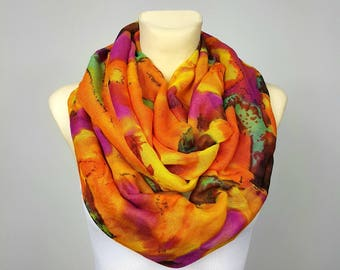Infinity Scarf Orange Scarf Woman Scarves Spring Scarf Women Bohemian Scarves Inspirational Women Gift for Mom from Daughter from Son