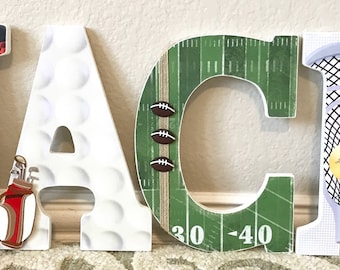 Baby Boy Nursery Decor, Sports Nursery Decor, personalized baby gift, Sports Baby Shower, Nursery Letters, Wall Letters, The Rugged Pearl