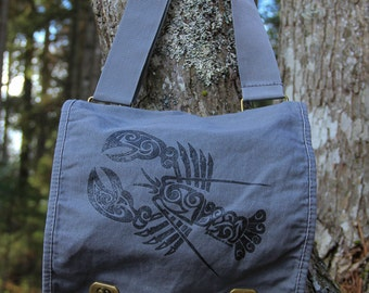 Lobster Tribal Tattoo Messenger Field Bag -  Screen Printed Original Design