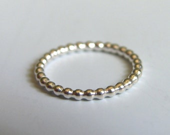 Sterling Silver Beaded Band Simple Sterling Silver Ring