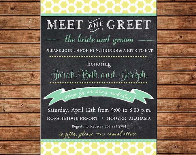 Invitation Quatrefoil Modern Chalkboard Shower Birthday Party - Can personalize colors /wording - Printable File or Printed Cards