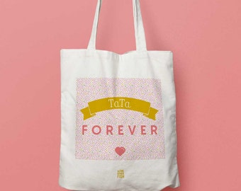 """""""Auntie forever"""", Tote bag to customize bag, shopping bag, cloth bag, shopping bag, cotton, Auntie, for birth, gift"""