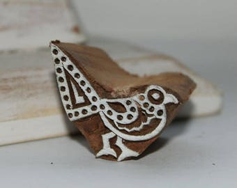 Indian wood stamp, hand carved bird