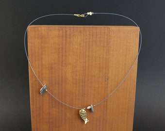 Handmade unique  necklace with gold plated silver fish element ,kyanite and pearl