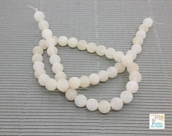20 beads agate veins dragon effect frosted, white, 8mm (pg200)