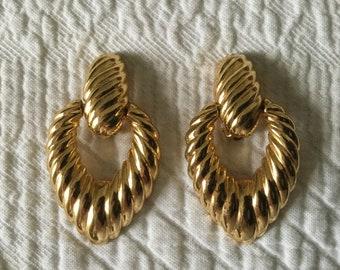 Vintage Gold Tone Joan Rivers Doorknocker Clip On Earrings