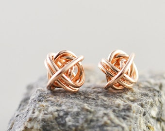Rose Gold Knot Studs, Rose Gold Posts, 7mm Studs, Love Knots, Bridesmaid Gift, Tie The Knot