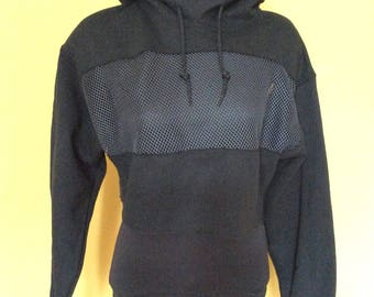 Black cropped hoodie with black mesh panel inserts