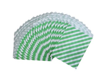 25 BRIGHT Green Diagonal Stripe Paper Treat Bags - Candy Bags - Party Supplies