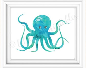 Aqua Watercolor Octopus, Coral Watercolor Octopus, Beach Theme Decor, 8 X  10 Print
