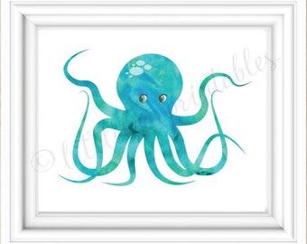 Aqua Watercolor Octopus, Coral Watercolor Octopus, Beach Theme Decor, 8 X  10 Print