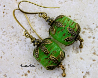 Rustic Green Boho Earrings with Antiqued Brass Victorian Style Findings and Green Goddess Czech Glass Picasso Beads