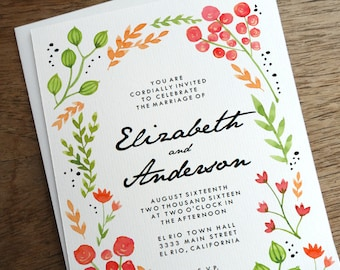 Printable Wedding Invitations - Wedding Invitation Template - DIY Wedding Invite Template - Floral Wedding Invitation - Water Color Florals