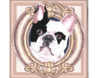 "French Bulldog Art Print on Canvas - Black and White - French Bulldog Art - Frenchie in a Frame - 8"" x 8"""