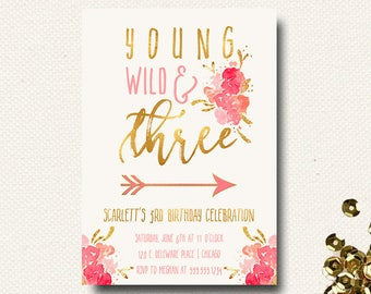 Twins birthday invitation twin invitations girls 1st young wild and three invitations girls birthday invites floral boho chic template printable filmwisefo