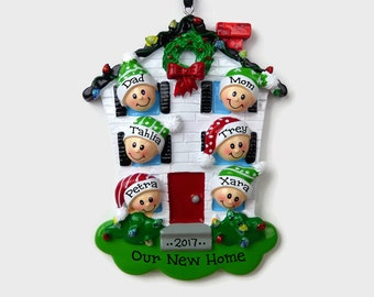 6 People at Home Personalized Ornament - New House - Personalized Family Ornament
