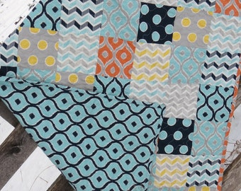 Gender Neutral Quilt | Geometric Baby Quilt | Geometric Nursery | Baby Shower Gift | Neutral Baby Bedding | Handmade Baby Quilt