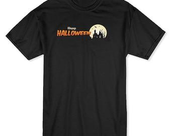 Happy Halloween Haunted House Men's Black T-shirt