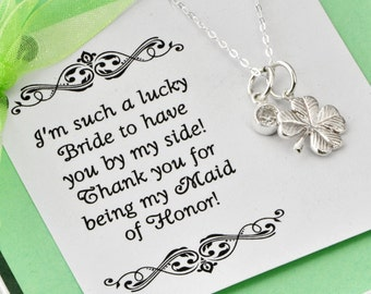Four Leaf Clover Necklace w/ gift box - Lucky Charm Necklace - Maid Of Honor Gift - Bridesmaid Gift - Birthstone Jewelry