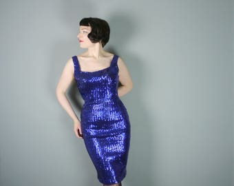 50s 60s SEQUIN dress by Mayfair - low cut SQUARE neck and back and pinup WIGGLE hourglass fit with padded bullet bra bust - S