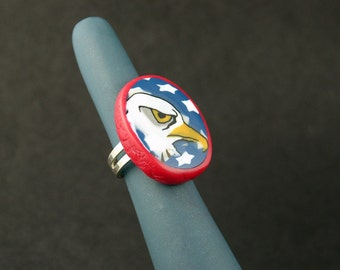 Patriotic Ring, Bald Eagle Ring, Handmade, Polymer Clay Ring, Jewelry, Red White and Blue Ring, Gift for Her, Mom Gift, 4th of July, USA