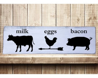 """Milk, Eggs, Bacon Rustic Farmhouse Style Handmade Real Wooden Sign Wall Art Distressed Plaque Home Decor  7.25""""x 24"""""""