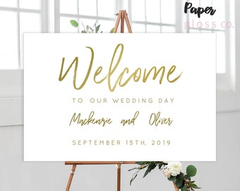 INSTANT DOWNLOAD Gold Wedding Welcome Sign, Printable Wedding Welcome Sign, Calligraphy, Editable, Gold Wedding