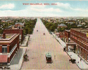 Vintage Postcard, Enid, Oklahoma, West Broadway, Horse and Buggy, Streetcar