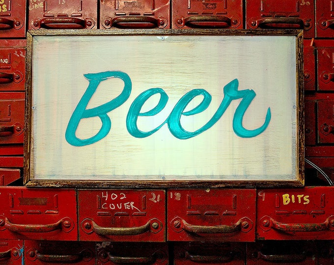 Midcentury Modern Custom Light Box Vintage Beer Sign with remote LED Light