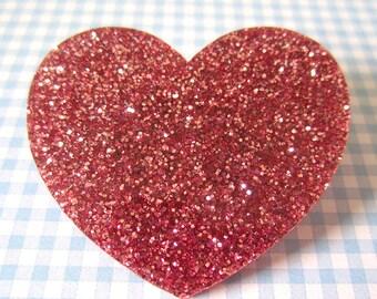 Broche rose paillettes Love coeur