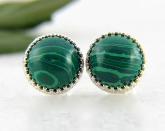 genuine malachite 8mm smooth round sterling silver stud earrings - malachite studs - dark green studs - gemstone studs - 8mm studs