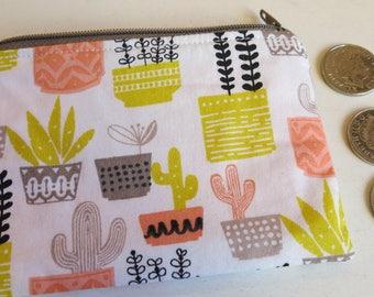 Cactus print coin purse - cactus pouch